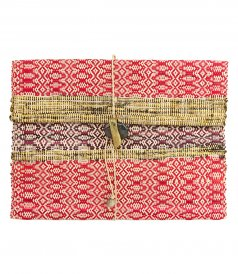 BAGS - BRAIDED RAFIA JEWEL CLUTCH