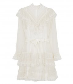 CLOTHES - GLASSY FRILLED LACE MINI DRESS