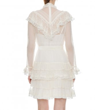 GLASSY FRILLED LACE MINI DRESS