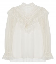 CLOTHES - GLASSY FRILLED LACE BLOUSE
