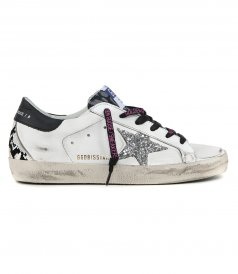 GOLDEN GOOSE  - PYTHON HEEL SUPERSTAR SNEAKERS