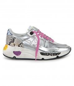 GOLDEN GOOSE  - SILVER METAL RUNNING SOLE SNEAKERS