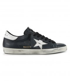 BLACK LEATHER SUPERSTAR SNEAKERS