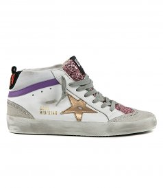 SHOES - PINK GLITTER TONGUE MID STAR SNEAKERS