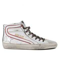 GOLDEN GOOSE  - WAVE LAMINATED STAR SLIDE SNEAKERS