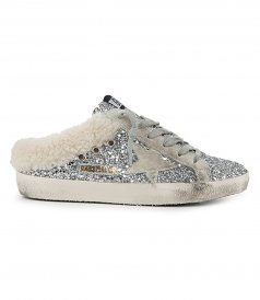 GLITTER SABOT WITH SHEARLING LINING