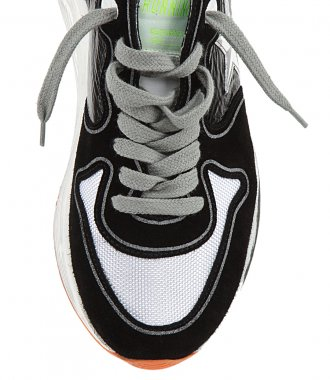 SHINY LEATHER UPPER RUNNING SOLE SNEAKERS