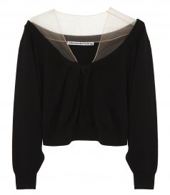 JUST IN - CROPPED DRAPE NECK PULLOVER