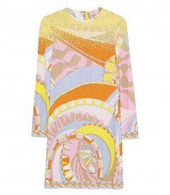 SEQUIN-EMBELLISHED ABSTRACT-PRINT DRESS