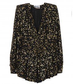 CLOTHES - BLACK AND GOLD MINI DRESS