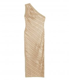 CLOTHES - METALLIC KNIT ONE SHOULDER DRAPED GOWN