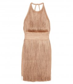 CLOTHES - METALLIC FRINGE HALTER DRESS