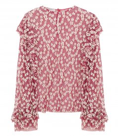 CLOTHES - FLORAL EMBROIDERED RUFFLE-TRIM BLOUSE