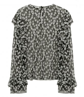 PHILOSOPHY DI LORENZO SERAFINI - FLORAL EMBROIDERED RUFFLE-TRIM BLOUSE