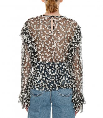 FLORAL EMBROIDERED RUFFLE-TRIM BLOUSE