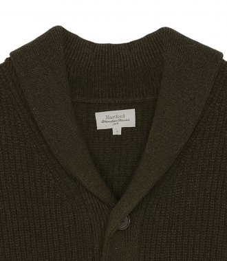 RIB WOOL AND CASHMERE CARDIGAN