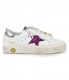 GOLDEN GOOSE  - MAY LEATHER GLITTER STAR SNEAKERS