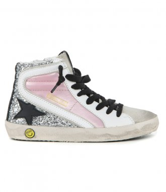 GOLDEN GOOSE  - SALMON PINK LAMINATED SLIDE SNEAKER
