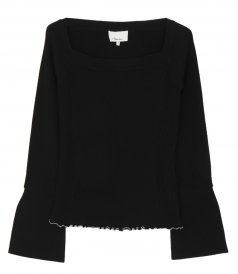 SALES - RIBBED OPEN NECK SWEATER