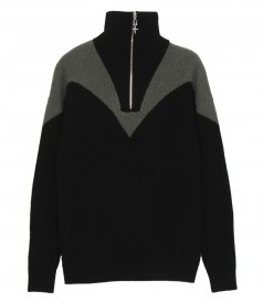 JUST IN - MOTORCYCLING RIB CASHMERE SWEATER WITH METAL ZIPPER