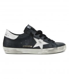 GOLDEN GOOSE  - SHINY LEATHER STAR SUPERSTAR SNEAKERS