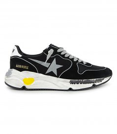 GOLDEN GOOSE  - SILVER PRINT STAR RUNNING SNEAKERS