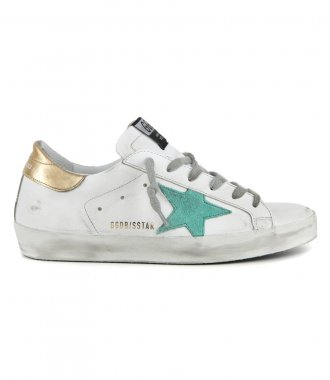 GOLDEN GOOSE  - GOLD LAMINATED HEEL SUPERSTAR SNEAKERS