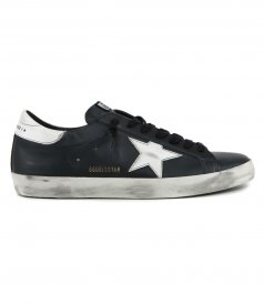 GOLDEN GOOSE  - SHINY LEATHER STAR AND HEEL SUPERSTAR SNEAKERS