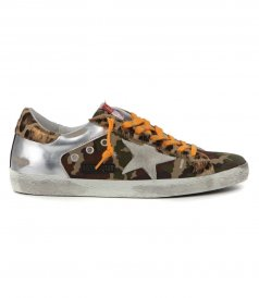 GOLDEN GOOSE  - CAMOUFLAGE HORSY HEEL SUPERSTAR SNEAKERS