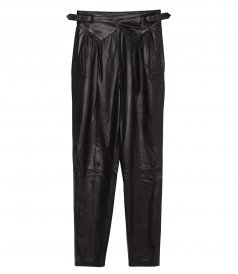CLOTHES - HIGH-WAISTED CARROT LEATHER PANTS