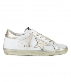 GOLDEN GOOSE  - LAMINATED STAR WITH LETTERING SUPERSTAR SNEAKERS