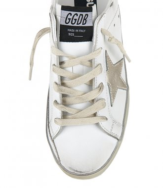 LAMINATED STAR WITH LETTERING SUPERSTAR SNEAKERS