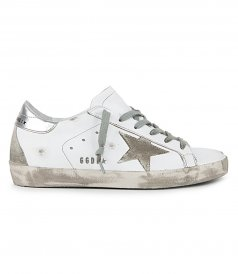 GOLDEN GOOSE  - SUEDE STAR & METAL LETTERING SUPERSTAR SNEAKERS