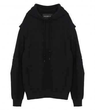 JACOB LEE - BLACK MOTORCYCLING HOODIE WITH REMOVABLE SLEEVES