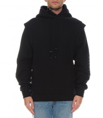 BLACK MOTORCYCLING HOODIE WITH REMOVABLE SLEEVES