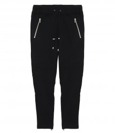 BLACK BIKER JOGGER PANTS IN BRUSHED FLEECE