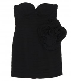STRAPLESS BUSTIER MINI DRESS IN BLACK