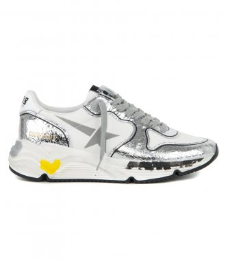 GOLDEN GOOSE  - SILVER CRACK RUNNING SNEAKERS