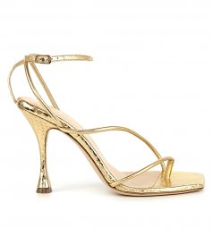 SANDALS - STRAPPY SNAKESKIN SANDALS IN GOLD
