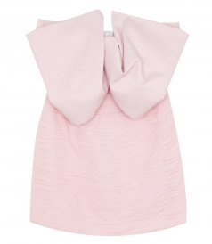 CLOTHES - STRAPLESS BOW-DETAIL MINI DRESS IN LIGHT PINK