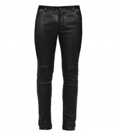 TROUSERS - STRETCH LEATHER JEANS PANTS