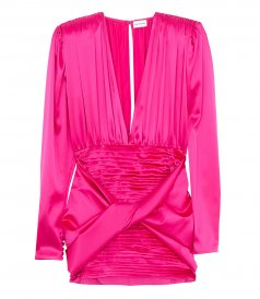 JUST IN - LONG-SLEEVE MINI DRESS IN FUCHSIA