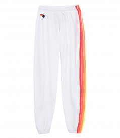 JUST IN - 4 STRIPE SWEATPANTS WHITE/NEON