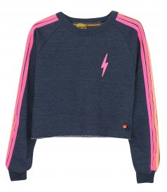 JUST IN - BOLT EMBROIDERY CLASSIC CROPPED CREW SWEATSHIRT