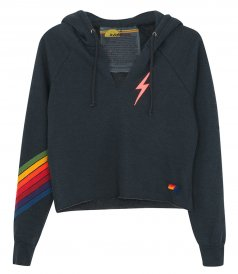 JUST IN - BOLT STITCH CHEVRON 5 SPLIT NECK PULLOVER/ CROP HOODIE