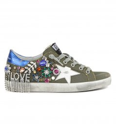 JUST IN - CANVAS WITH CRYSTAL SUPERSTAR SNEAKERS