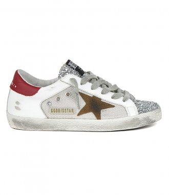 GOLDEN GOOSE  - NET AND LEATHER SUPERSTAR SNEAKERS