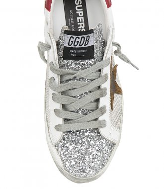 NET AND LEATHER SUPERSTAR SNEAKERS
