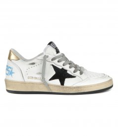 GOLDEN GOOSE  - GOLD LAMINATED HEEL BALL STAR SNEAKERS