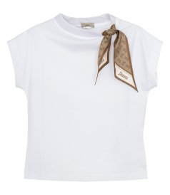 CLOTHES - SUPERFINE COTTON STRETCH T-SHIRT WITH FOULARD